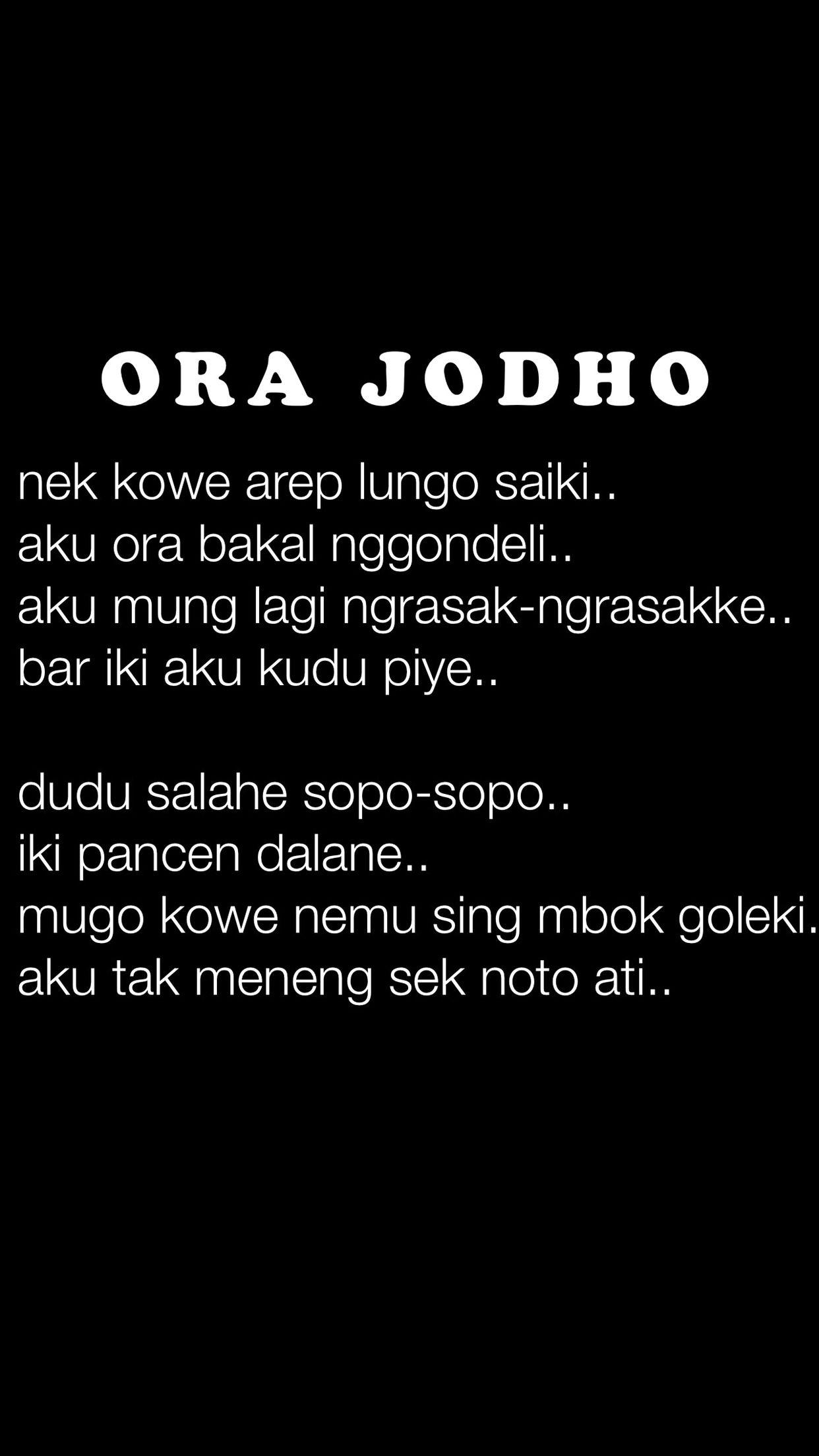 Puisi Jawa Ora Jodho JawaNese Style Pinterest