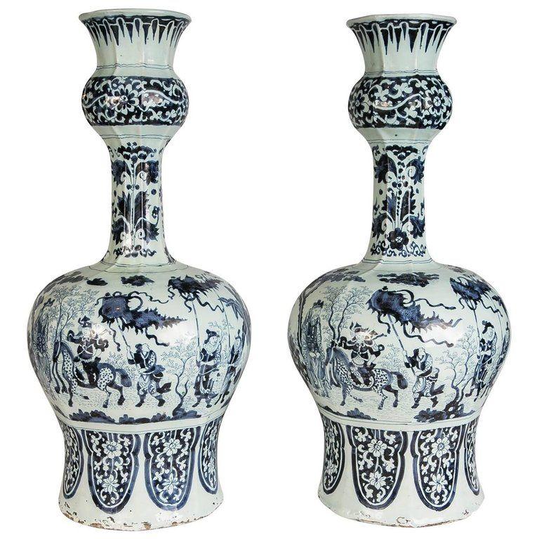 Large Pair Antique Delft Blue And White Vases Made Circa 1700 1720 Blue And White Vase Chinoiserie Vase Blue Vase