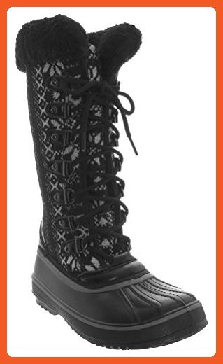 Snowflake Lace Up Boot With Boa Collar On A Tpr Outsole. Ladies Boot