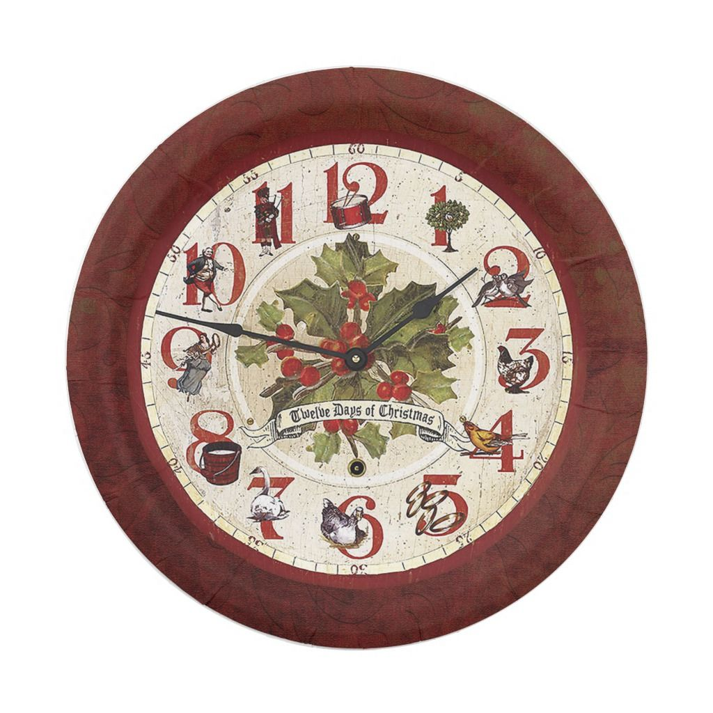 Vintage Twelve Days Of Christmas Paper Plate Zazzle Com Christmas Paper Plates Twelve Days Of Christmas Christmas Clock