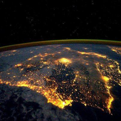 España Contaminación Lumínica Tierra Desde El Espacio España