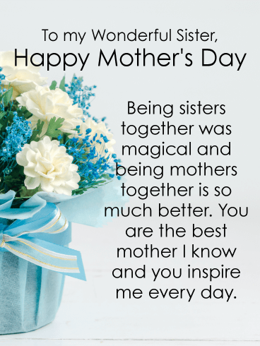 You Inspire Me Happy Mother S Day Card For Sister Birthday Greeting Cards By Davia Happy Mothers Day Sister Happy Mother Day Quotes Happy Mothers Day Wishes