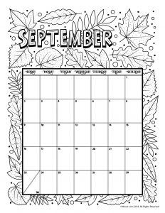september 2018 coloring calendar page