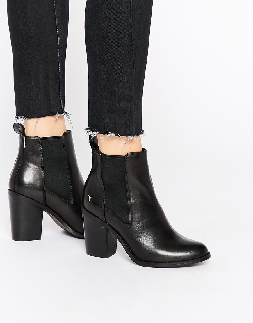 asos smith louie black leather heeled ankle