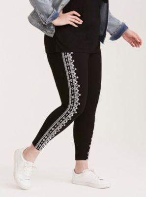 8b28a12a9f1 Higher-Rise Embroidered Pull On Pants in Black white
