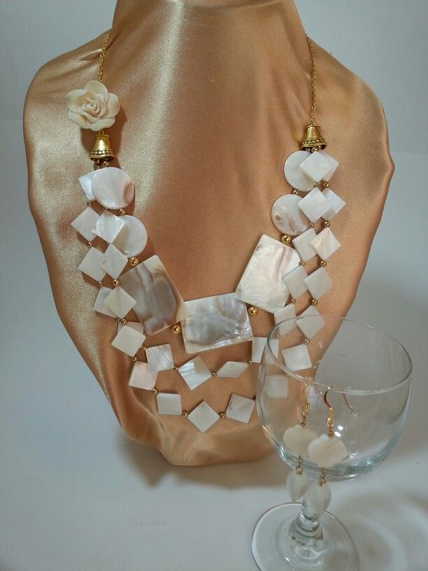 Mother of Pearl Necklace and Earrings Set   Etsy jewelsbyyvonne