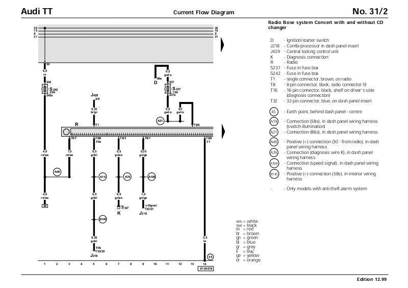 audi tt bose radio wiring diagram