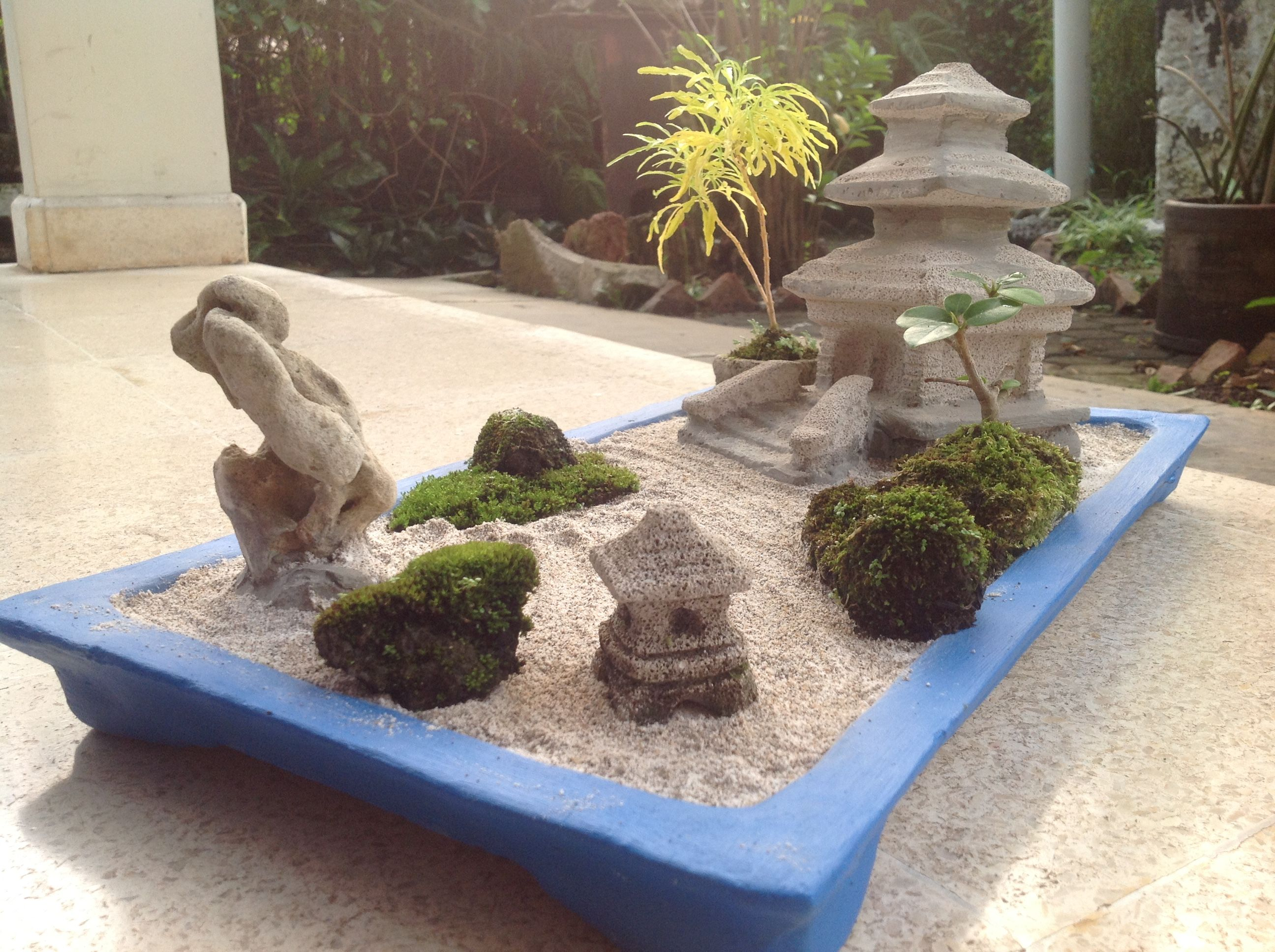 Good The Temple Of Mini Zen Garden With The Blue Pot, DIY