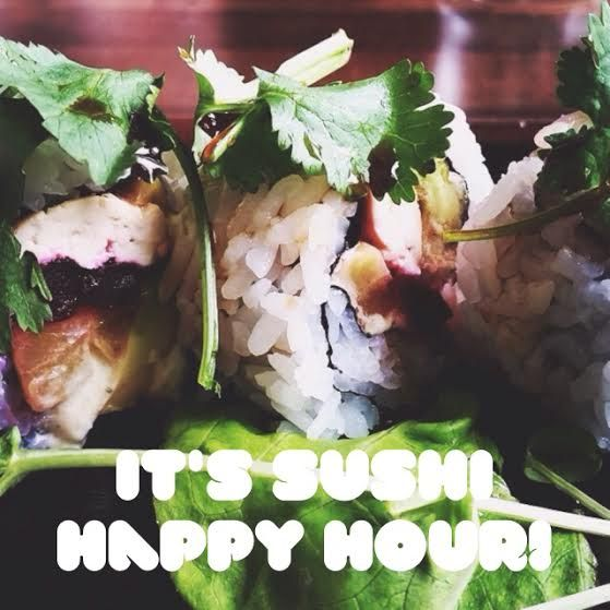 Come get your happy on, #sushi style! Weekdays 2:30-6:30 all sushi rolls $9 for sushi happy hour! #burgushi #yyceats