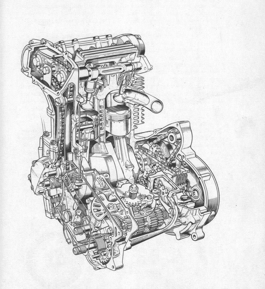 BSA Fury 350 DOHC engine drawing | Motorcycle | Pinterest ...