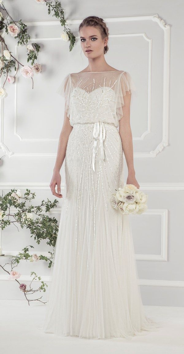 6fc5660d4 Ellis Bridals 2015 wedding dresses Rose collection | Wedding dress 15160 –  Delicately sequinned 1920's style tulle dress with softly draped sleeves  and ...