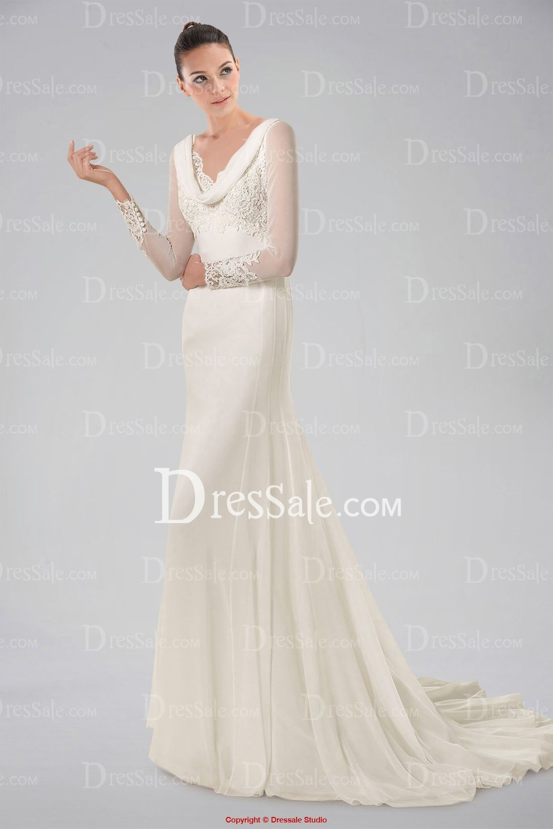 Long sleeve chiffon wedding dress  Stunning Long Illusion Sleeve Chiffon Wedding Dress with Appliques