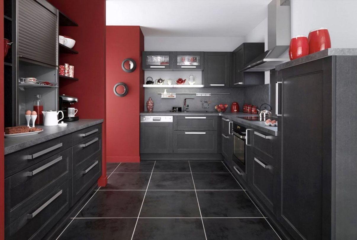 Cuisine Grise 40 Idees Et Photos Pour Votre Cusine Cuisine Gris Deco Cuisine Rouge Et Cuisine Noire