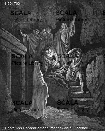 Dore, Gustave (1832-1883) Jesus raising Lazarus from his tomb, 1865-1866 (from the the Bible - John 2:43)
