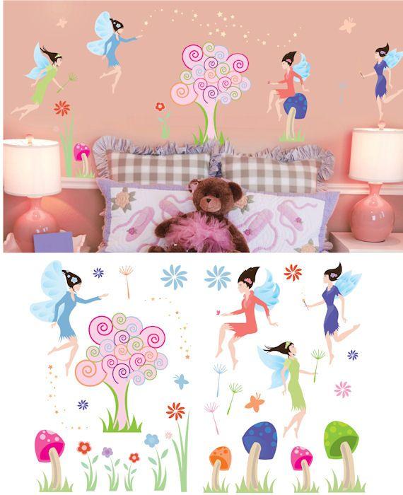 art applique fairies wall sticker - wall sticker outlet   girls