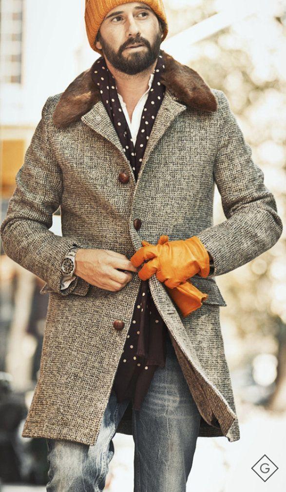 grauer mantel mit hahnentritt muster wei es langarmhemd graue jeans orange m tze f r herren. Black Bedroom Furniture Sets. Home Design Ideas
