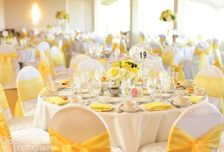 yellow chair covers hanging room white table clothes napkins sashes check all already ordered