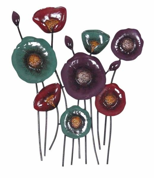 Small bright sparks poppy scene metal wall art from earth homewares