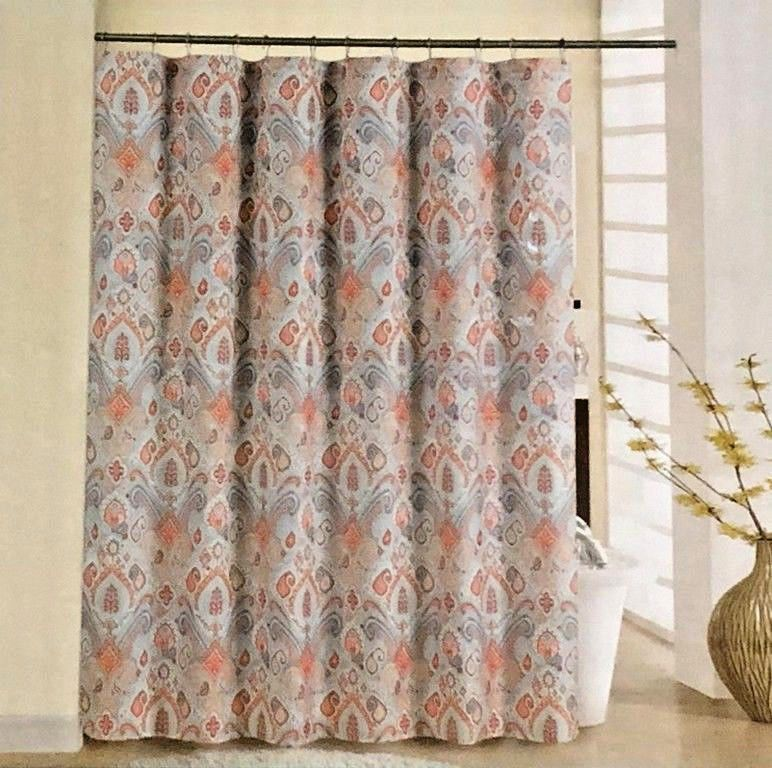New Waverly Fabric Shower Curtain Set With 12 Metal Roller Hooks