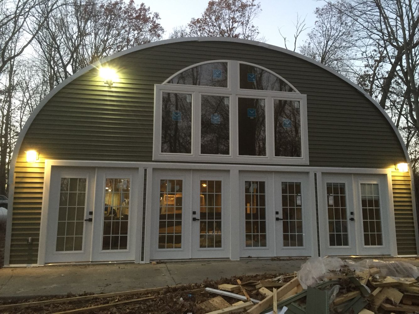 Front of my quonset hut rough electric just finished for Metal building home designs