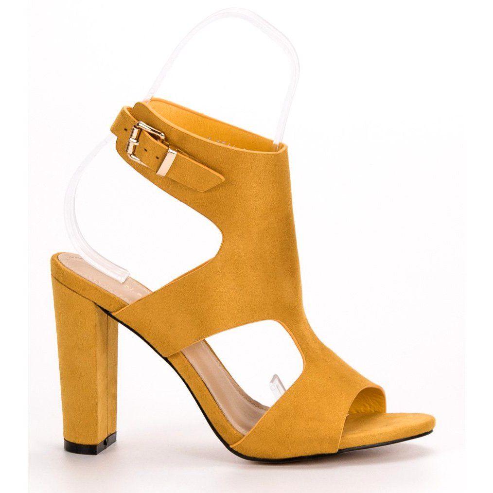 0167bb2608dba9 #Sandały #Damskie #IdealShoes #Ideal #Shoes #Żółte #Seksowne #Sandałki