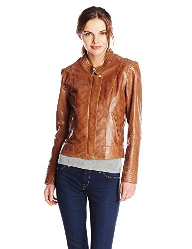 Cole Haan Women's Zip Front Leather Jacket, Camel, Large available Cole Haan  http: