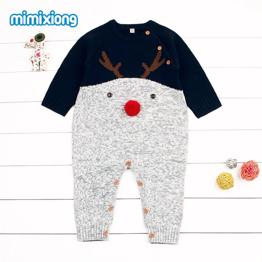 mimixiong Baby Christmas Outfit Newborn Girls Boys Knitted Reindeer Romper Jumpsuit