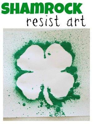 Shamrock Resist Art St Patrick S Day Pinterest Preschool Art