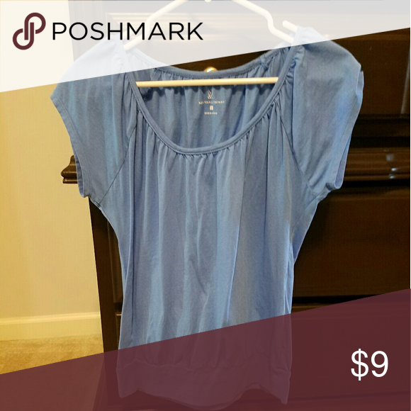 Blue scoop neck tee Blue scoop neck tee with ruching at neckline New York & Company Tops Tees - Short Sleeve
