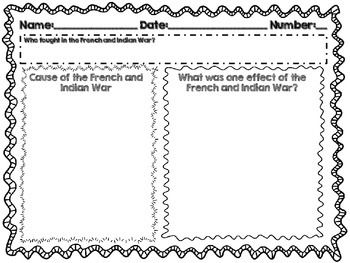 French And Indian War Exit Slip Social Studies Middle School