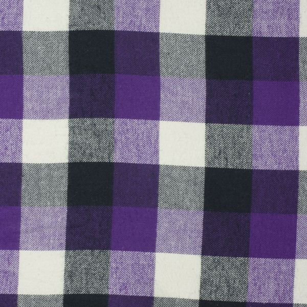 "♡! Black, White, and Purple 1.5"" Plaid Flannel - Cali Fabrics"