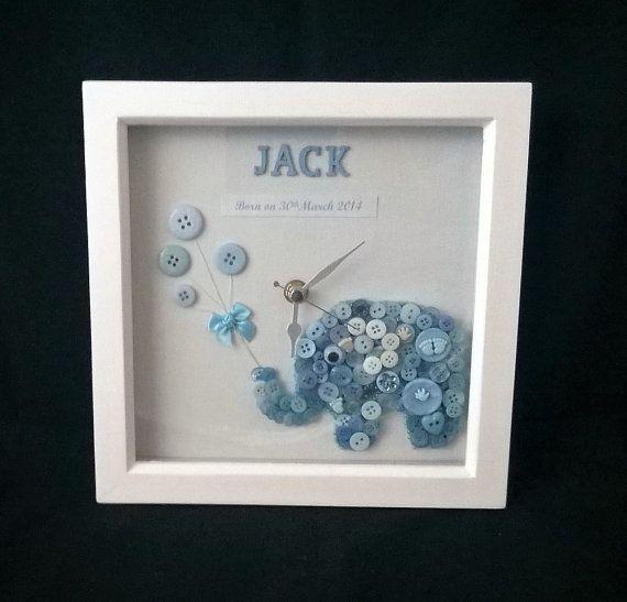 Personalised baby gift, Baby Elephant Clock, Nursery Clock ...