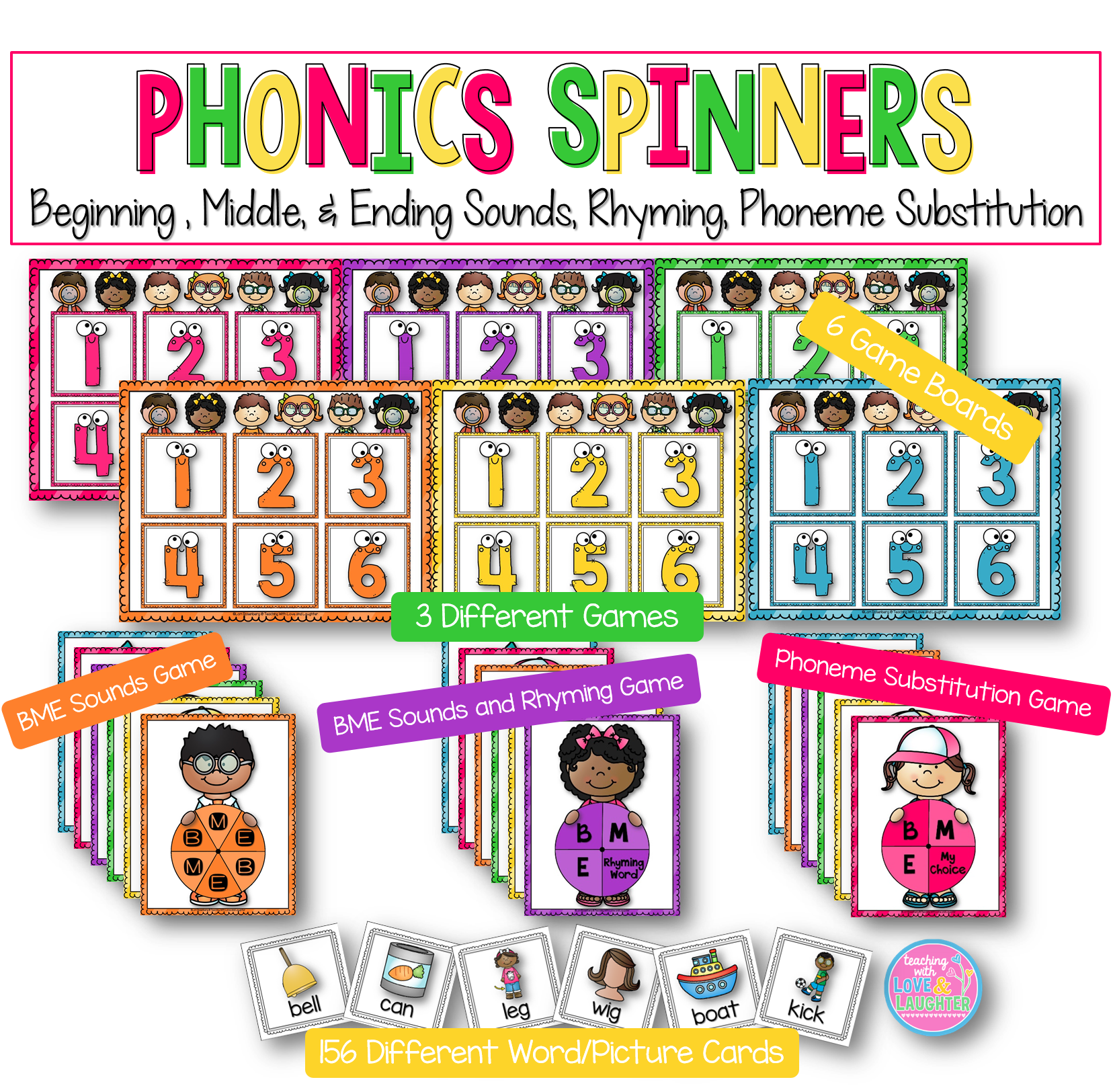 Phonics Spinners Bme Sounds Rhyming Phoneme