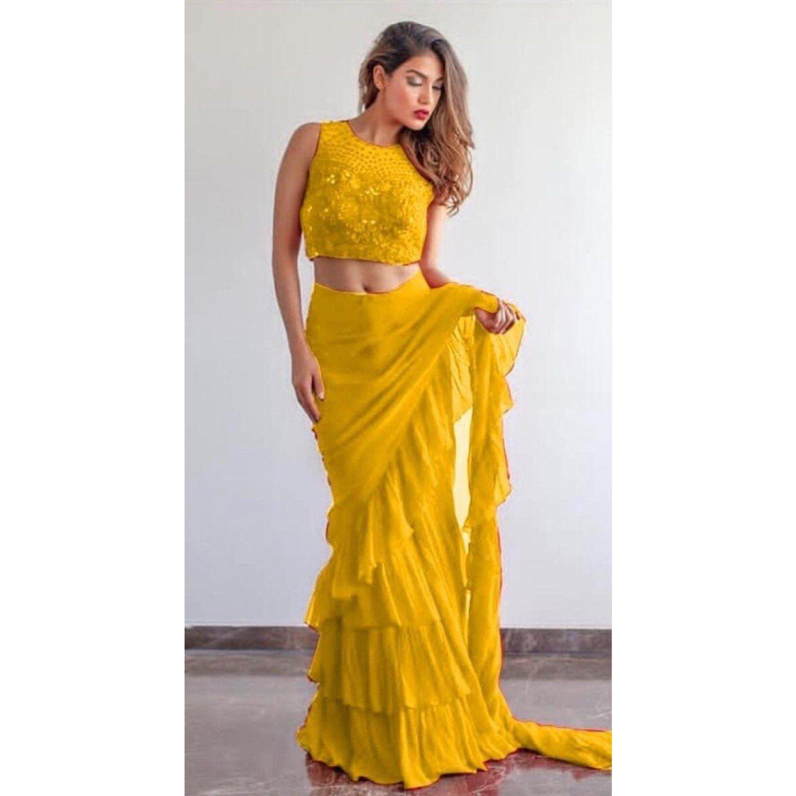 94353ad5690 Yellow Color Georgette Silk Ruffle Saree  saree  partywearsaree  fashion   womenwear  partywear  ethnic  YEBOIndia