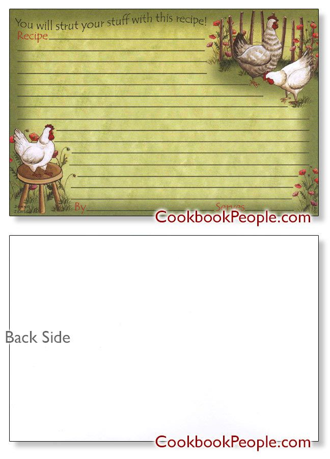 4x6 chicken out  recipe card