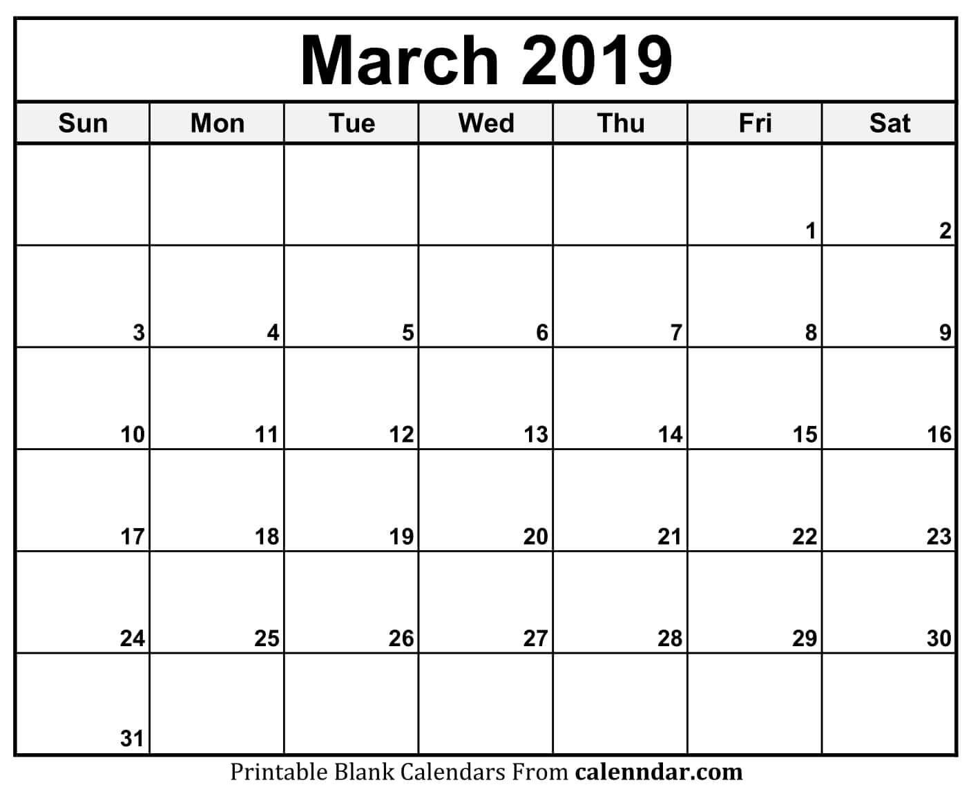 Calendar 2019 March Printable Template Download June 2019