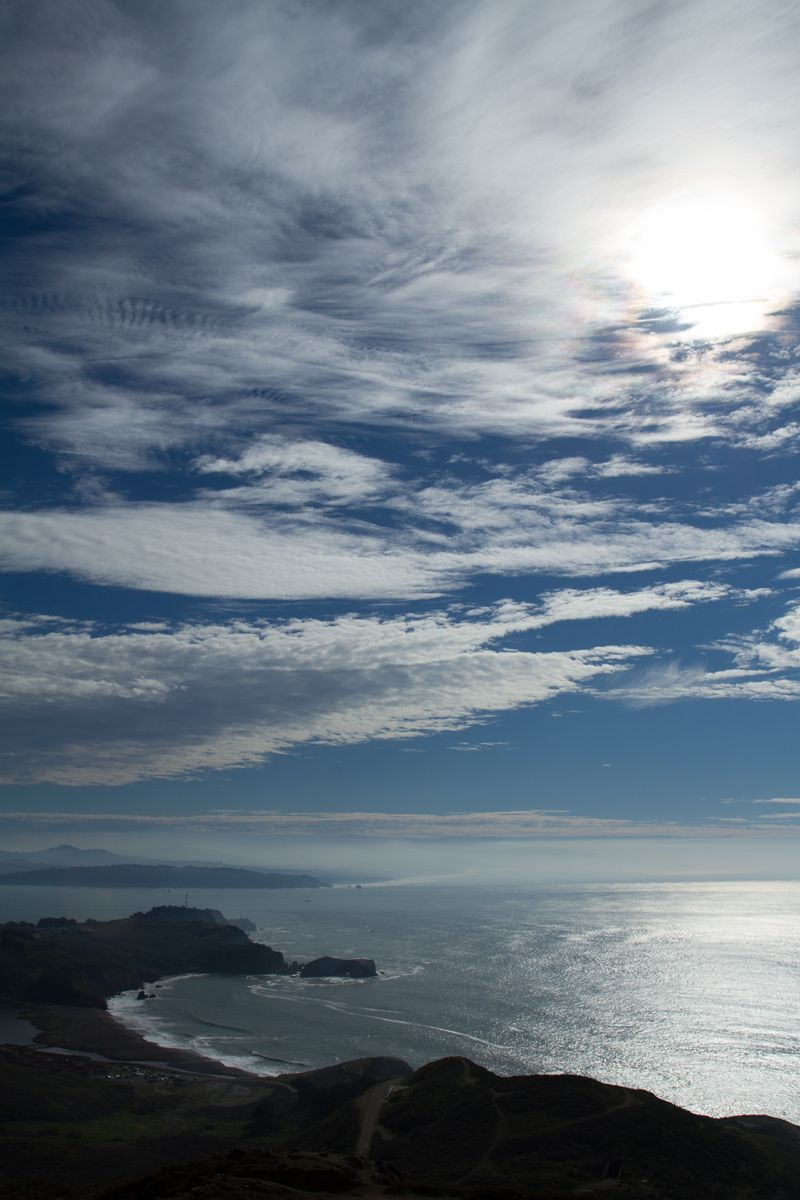 Up, up and up we go to the top of the hills in the Marine Headlands.