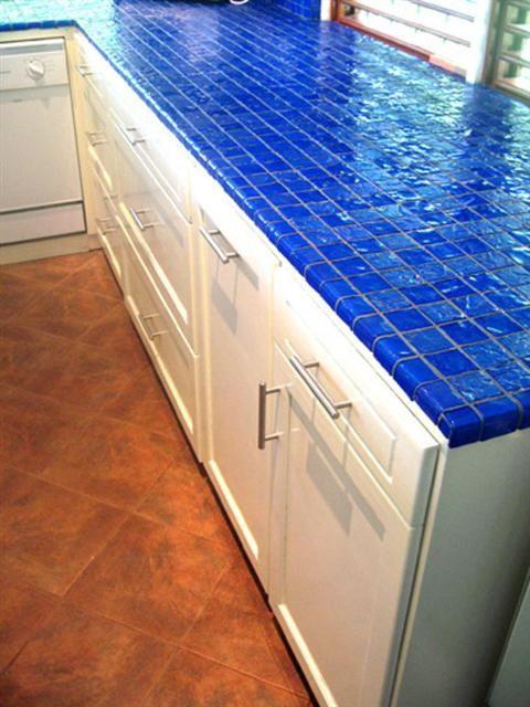 cobalt blue and aqua colored ceramic tiles for kitchen countertop