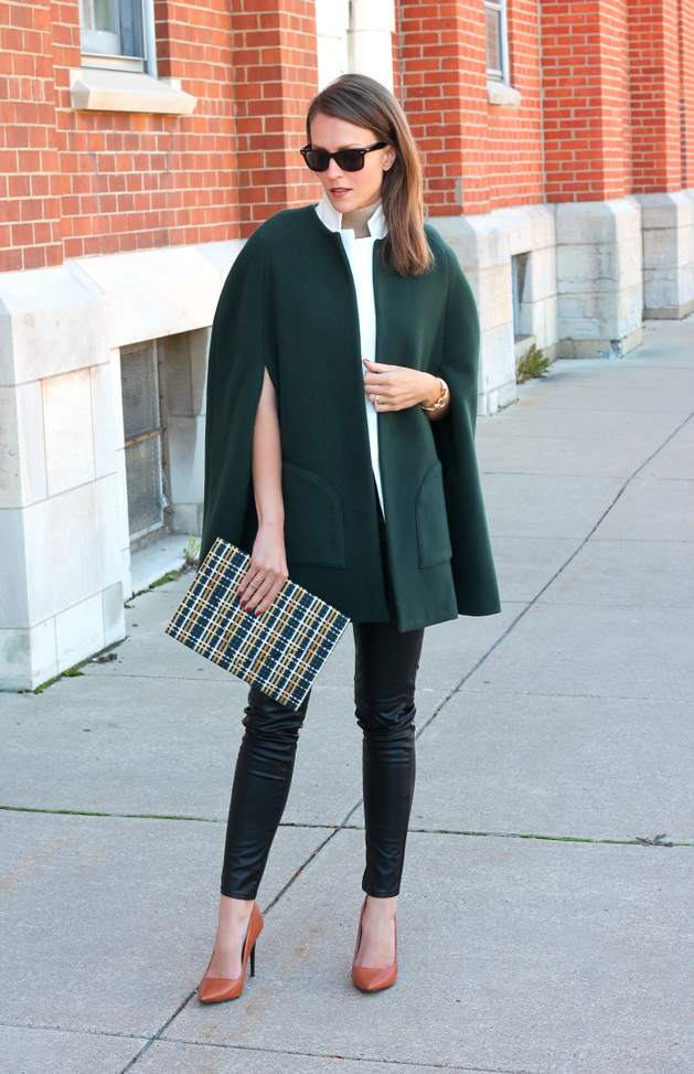 Green Woolen Street So Chic Cape , Leather Pant , Plaid
