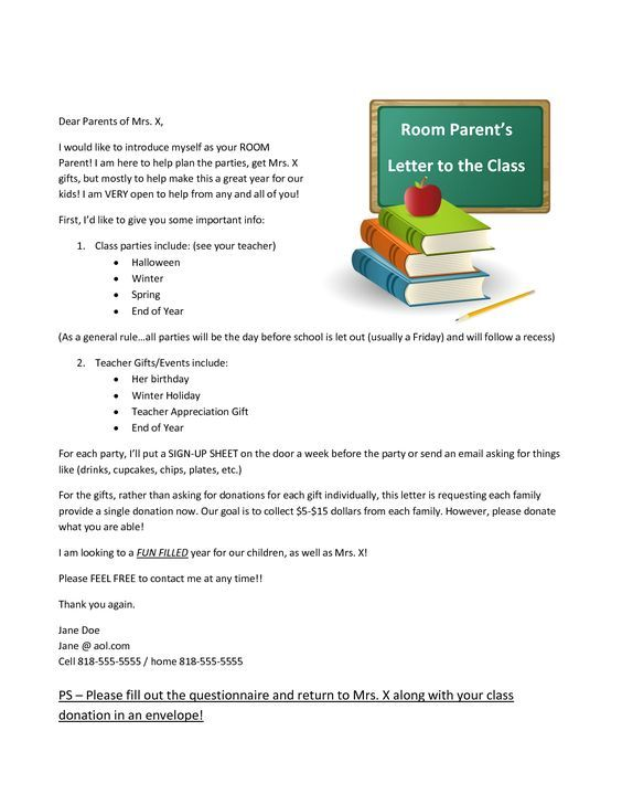 Room Mom Introduction Letter  Google Search  School Stuff