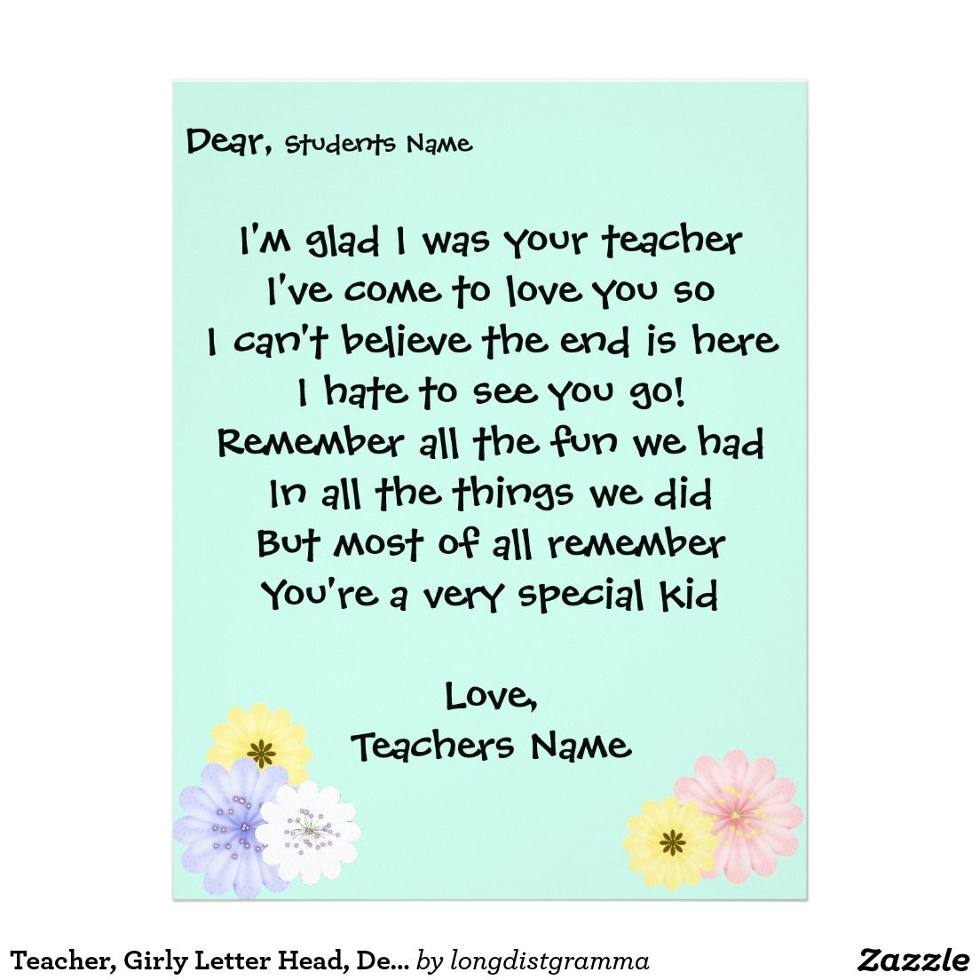 Teacher Girly Letter Head Dear Student Letterhead  In The