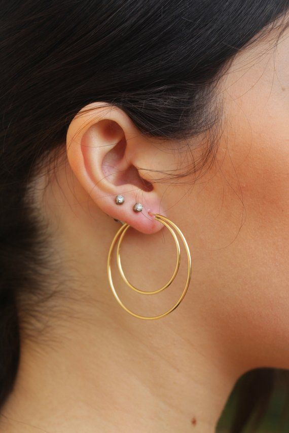 df35ff8e898d1 14K Gold Double Hoop Earrings, Medium Large hoop Earrings, Gold ...