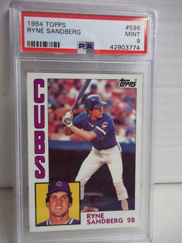 1984 Topps Ryne Sandberg Psa Mint 9 Baseball Card 596 Mlb