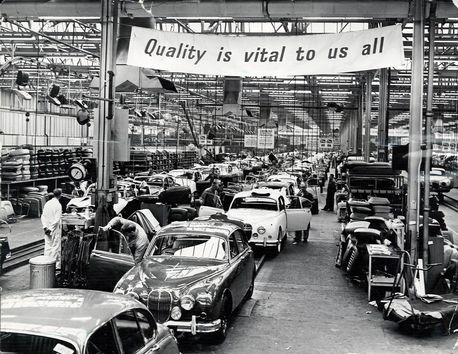 Jaguar Cars Browns Lane Coventry Production Line The Banner Above The Track Reads Quality Is Vital To Us All 18th October 1961