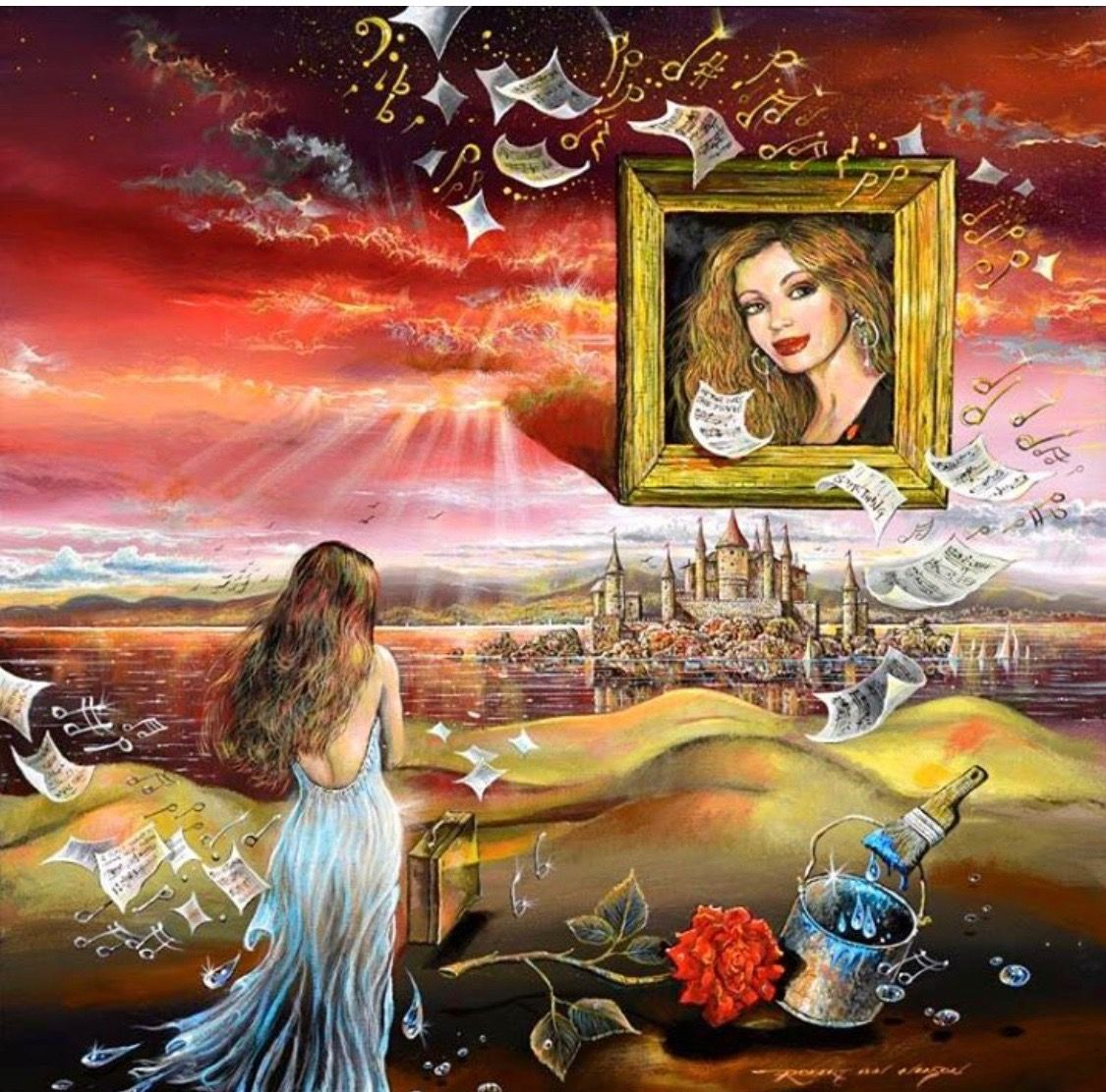 """70bcfc40841 Title SOMETHING By ROBERT LYN NELSON SURREALISM  fineart MUSIC AND PAINTING  A RELATIONSHIP  beatles art """"Something in the way she moves"""""""