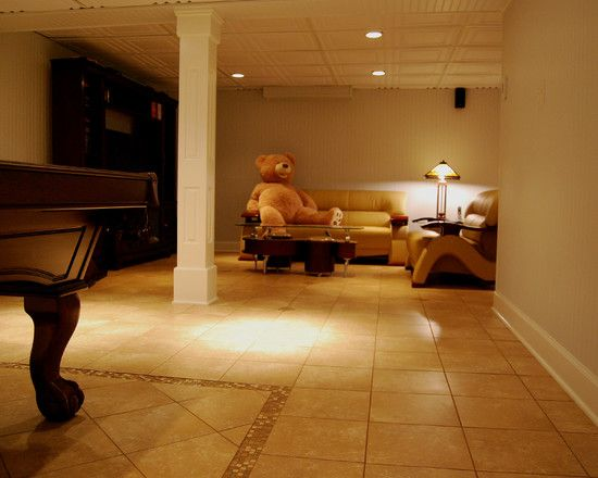 Modern Contemporary Basement for Game Room: Spacious Contemporary Basement Finished With Best Furniture Design Dieas Wtih White Ceiling Unit...