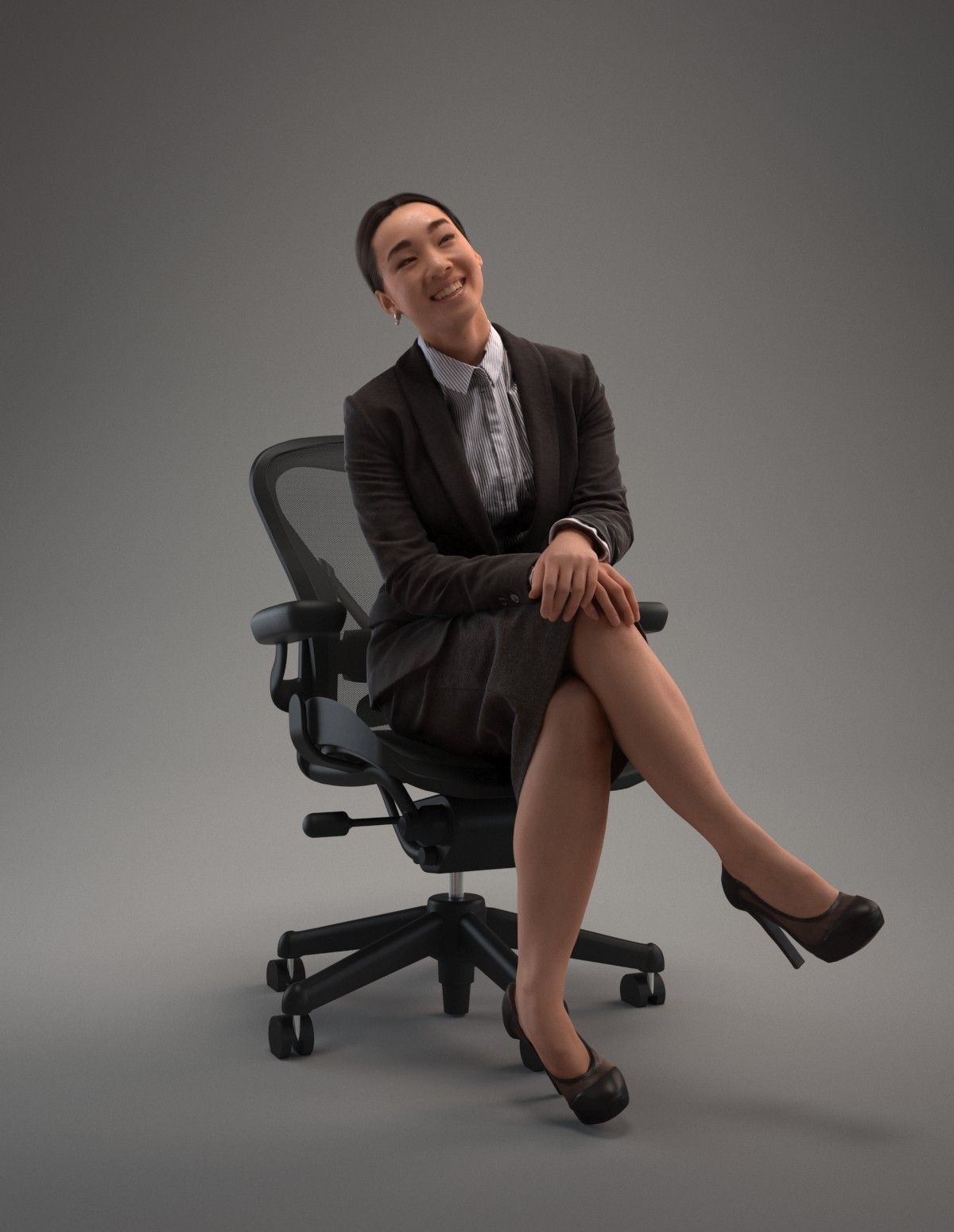 3D max asian chair character