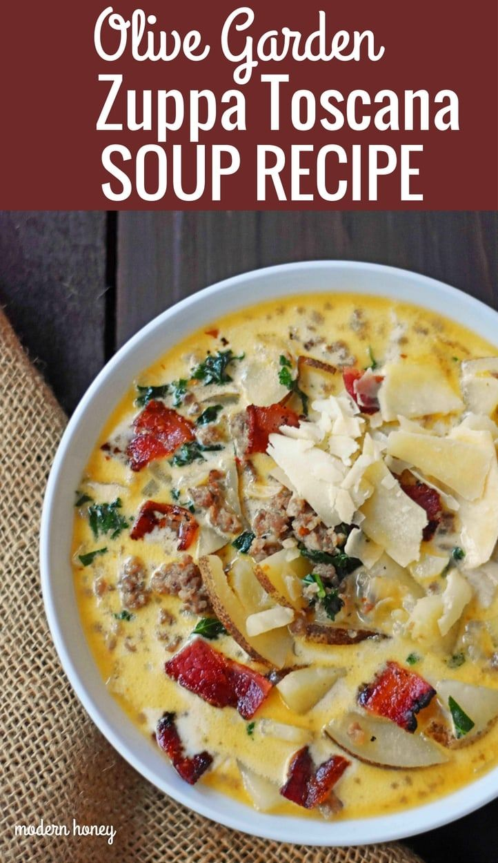 Zuppa Toscana Suppe (Olive Garden Copycat Rezept) - Moderner Honig #zuppatoscanasoup
