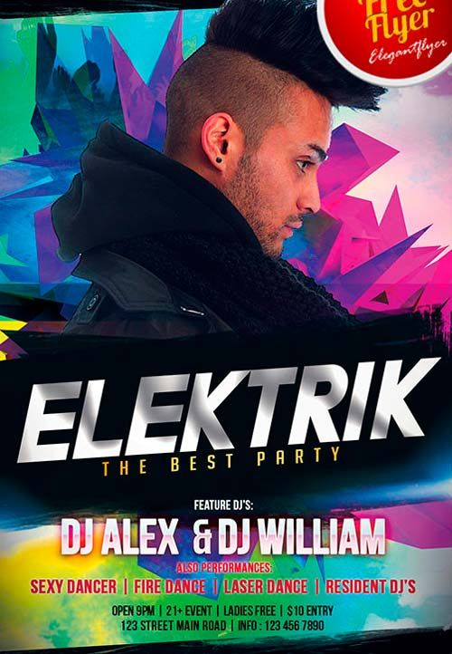 Free Dj Elektrik Flyer Psd Template  HttpFreepsdflyerComFree
