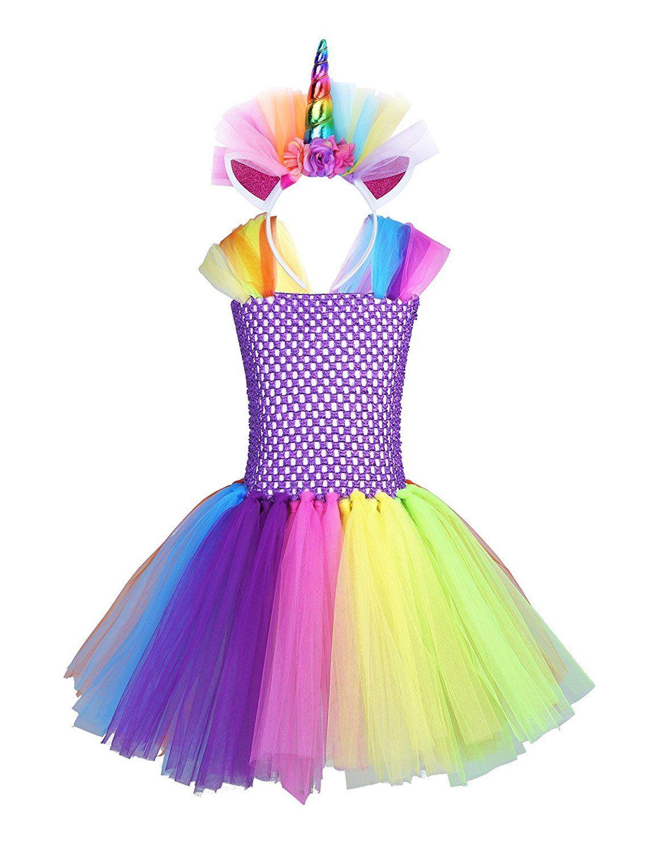 964cfccc9 Disfraz de Unicornio Arco iris Para Niñas 2-10 Años Vestidos de ...